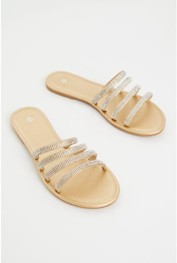 Metallic Strappy Flat Slides