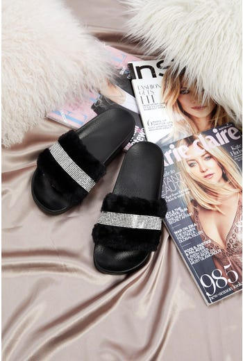 Diamante Faux Fur Fluffy Slides