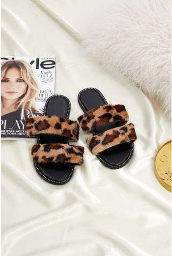 Animal Print Faux Fur Slides