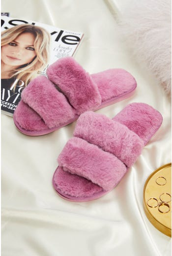 Faux Fur Fluffy Slides