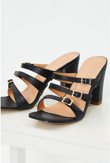 Faux Leather Buckle Mules