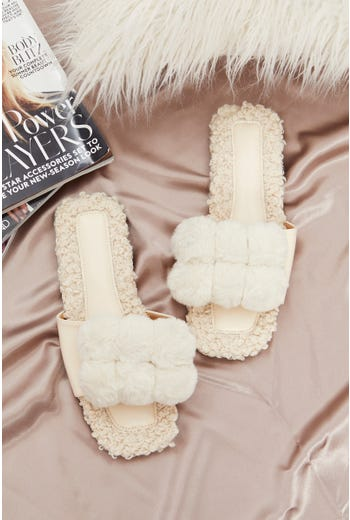 Plus Pom Pom Fluffy Faux Fur Slider Slippers