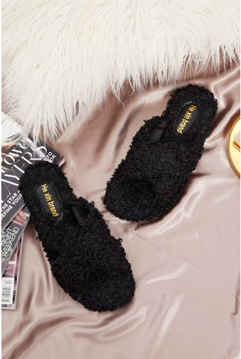 Plus Borg Fluffy Teddy Crossover Slider Slippers