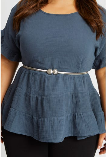 Plus Shell Buckle Stretched Belt