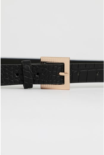 Plus Textured Square Buckle Waist And Hip belt