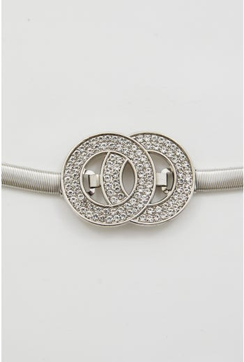 Diamante Double Circle Metal Stretch Belt
