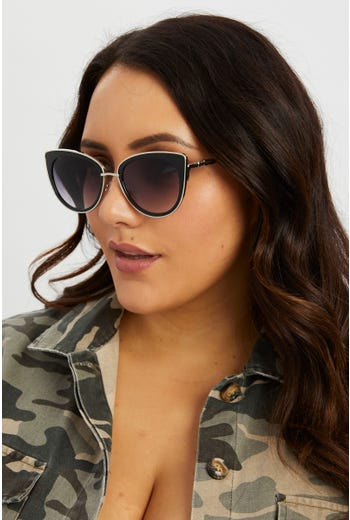 Plus Cat-eye With Gold Frame Sunglasses