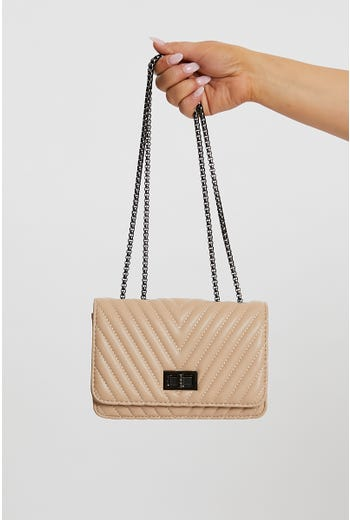 Nyla Rose Chevron Quilted Bag with Chain Handle