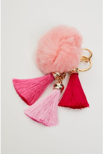 Faux Fur With Tassel Key Ring