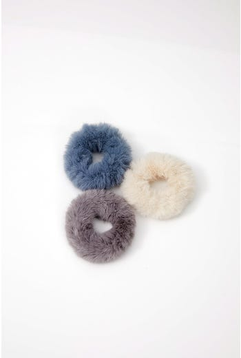 NYLA-ROSE FAUX FUR 3 PACK SCRUNCHIES