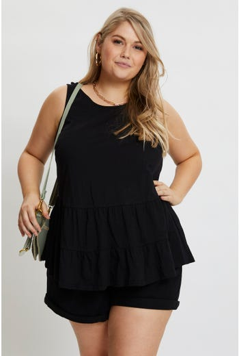 Plus Tiered Sleeveless Top