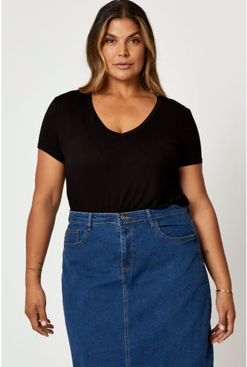 Plus V Neck Oversize Basic T Shirt