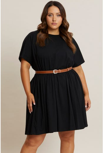 Plus Short Sleeve Tiered Basic Dress
