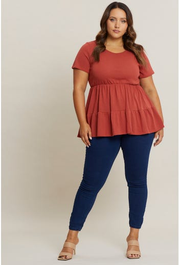 Plus Short Sleeve Tiered T Shirt