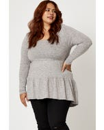 Plus Long Sleeve Soft Touch Basic Tiered Top