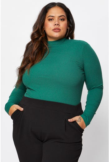 Plus Long Sleeve High Neck Basic Rib Top