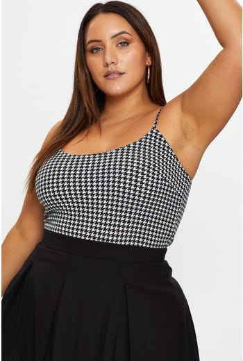 Plus Houndtooth Pattern Cami Top