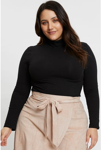 Plus Roll Neck Long Sleeve Top