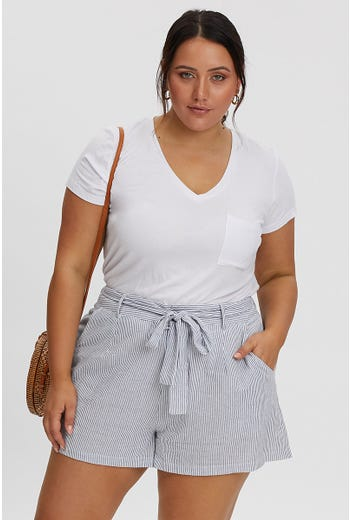 PLUS CORDELIA TIE WAIST SHORT