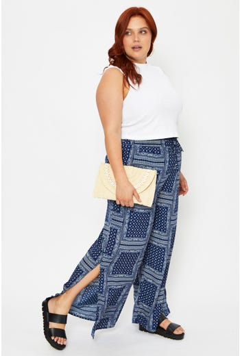 Plus Boho Print Elastic Waist Split Wide Leg Pants