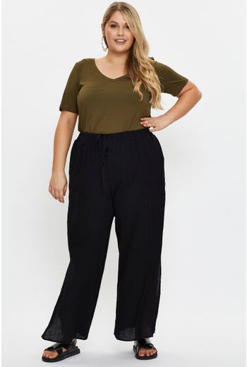 Plus Linen Blend Side Slit Wide Leg Pants
