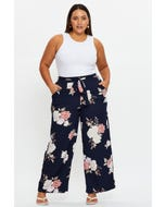 Plus Floral Print Wide Leg Pants
