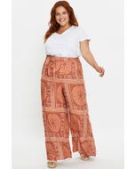 Plus High Waist Boho Print Long Wide Leg Pants