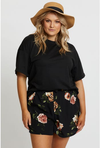 Plus Drawstring Floral Print Shorts