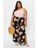 Plus Floral Print Side Slit Wide Leg Pants