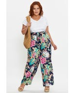Plus Tropical Print Long Wide Leg Pants