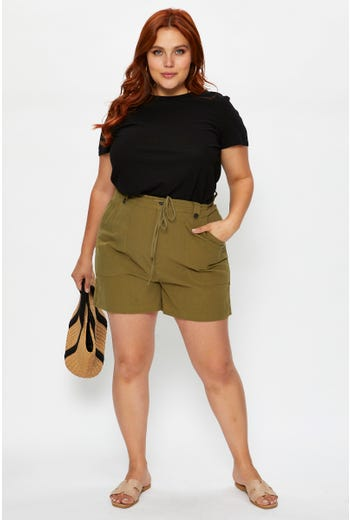 Plus High Waist Cotton Drawstring Out Pocket Cargo