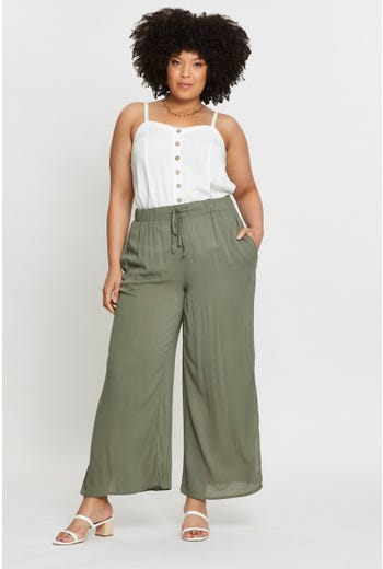Plus Cheesecloth Fabric Side Slit Wide Leg Pants
