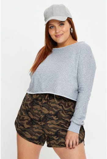 Plus Camouflage Print Track Shorts