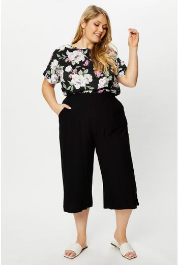 Plus Mid Rise Linen Look Elastic Waist Wide Culottes