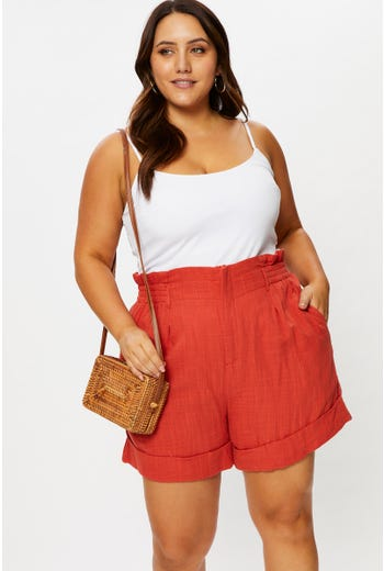 Plus High Waist Linen Blend Elastic Waist Short Skirt