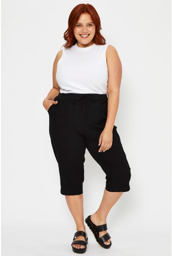 Plus High Waist Cotton Knit Waistband Relaxed Fit