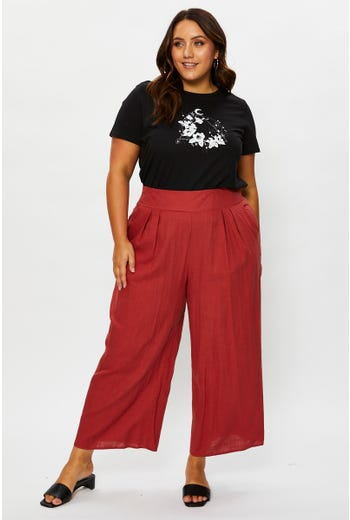 Plus High Waist Elastic Waist Linen Blend Culottes