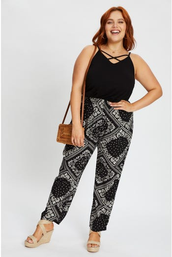 Plus Boho Print Slim Leg Pants
