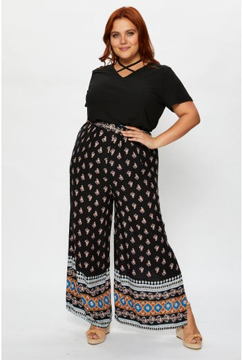 Plus Boho Print Wide Leg Pants