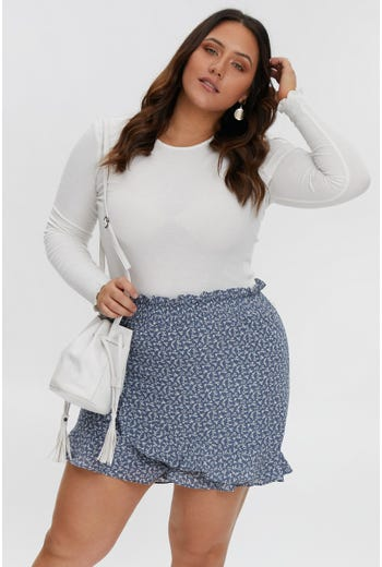 PLUS SHIRRED WAIST SKORT