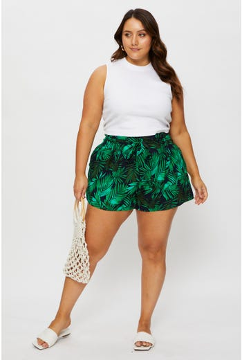 Plus High Waist Tropical Print Waist Tie Shorts