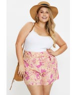 Plus High Waist Floral Print Belted Shorts