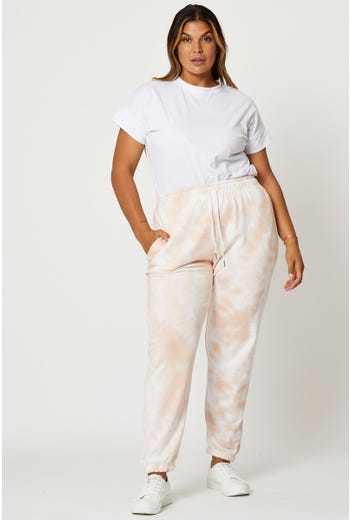 Plus Elastic Waist Track Pants
