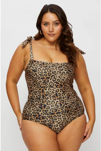 Plus Leopard Print Tie Shoulder Square Neck Swimsuit