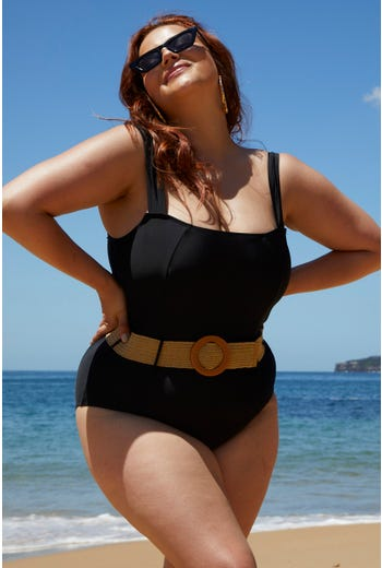 Plus Belted Square Neck Swimsuit