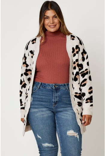 Plus Animal Print Longline Cardi