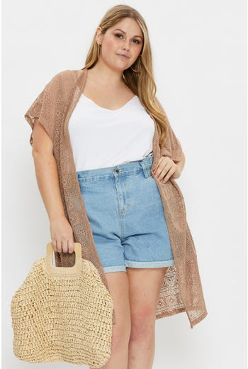 Plus Short Sleeve Longline Cardigan