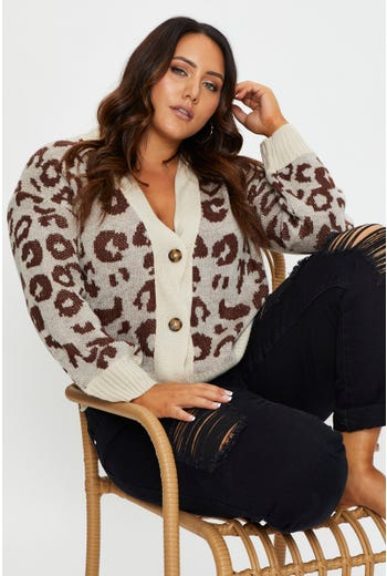 Plus Animal Print Cardigan