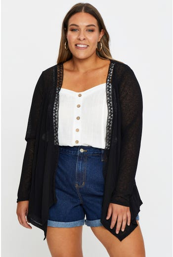 Plus Lace Trim Summer Cardigan