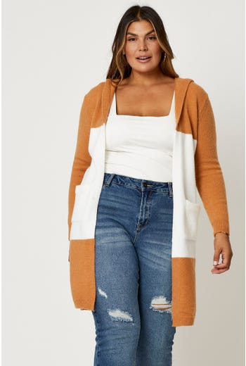 Plus Hoodie Colorblock Cardigan